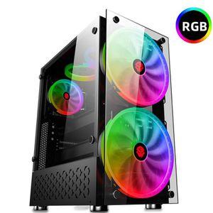 BOITIER PC  SUPER Boîtier PC RGB+2 20cm Ventilateur ATX m-atx