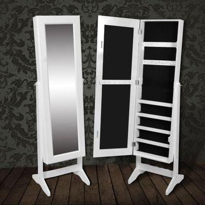 Armoire à Bijoux rangement miroir meuble chambre blanc Armoire à bijoux  Miroir Armoire à bijoux Murale Meuble à bijoux