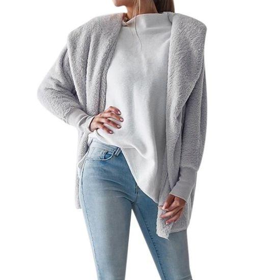 Sfw80820311gyxl Gris Manteau D'hiver Jumper Cardigan Veste Fluffy Pardessus Femmes Capuche Outwear qpTzRwB