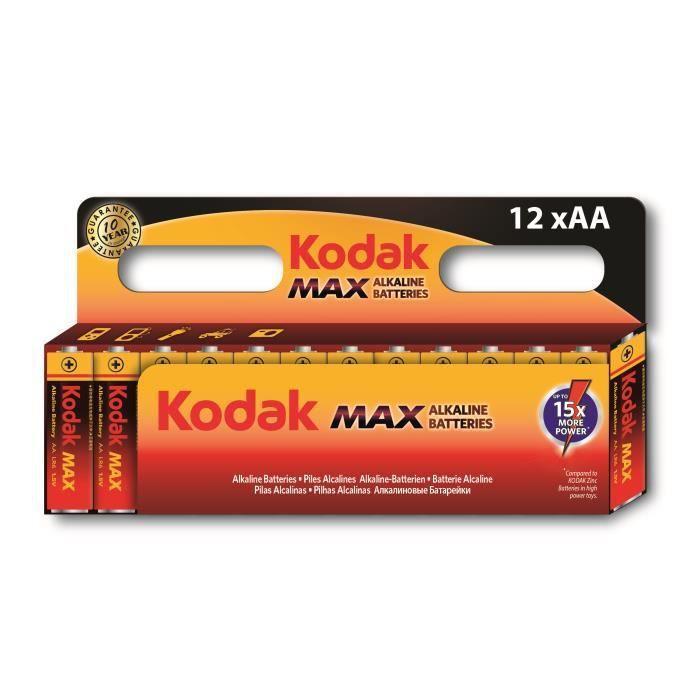KODAK Lot de 12 Piles alcaline MAX LR06/AA - 1,5V