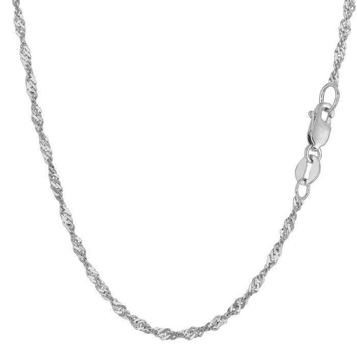Collier- 14k or blanc Singapour, 2,1 mm, 20