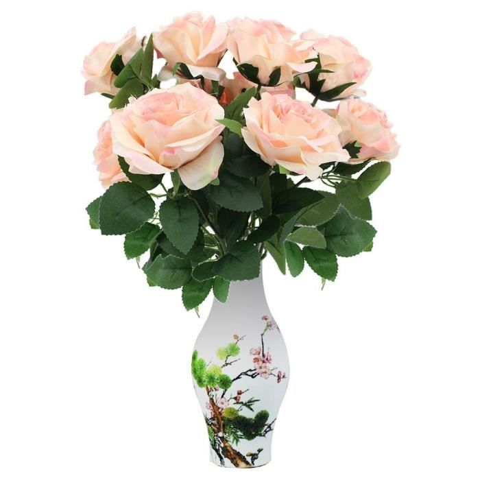 Fleur Artificielle Premium Romantique Rose 10 Grosses Tetes Bounquet