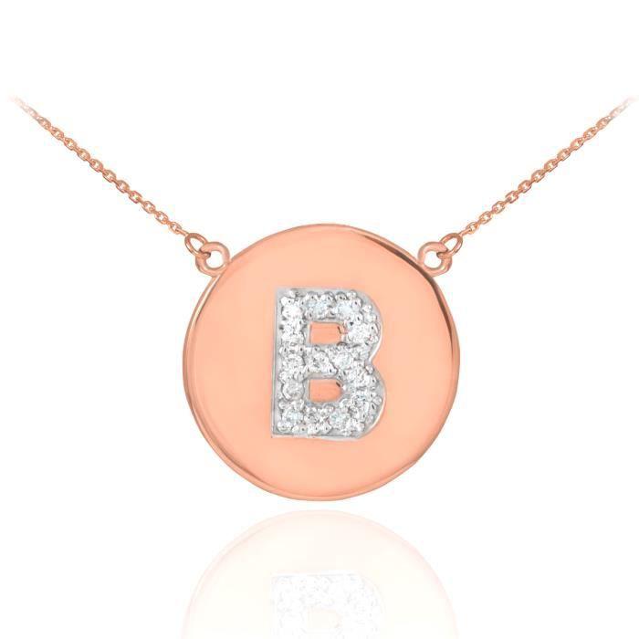 Pendentif 14 ct Or Rose 585/1000Lettre initiale Bdisque diamant initiale