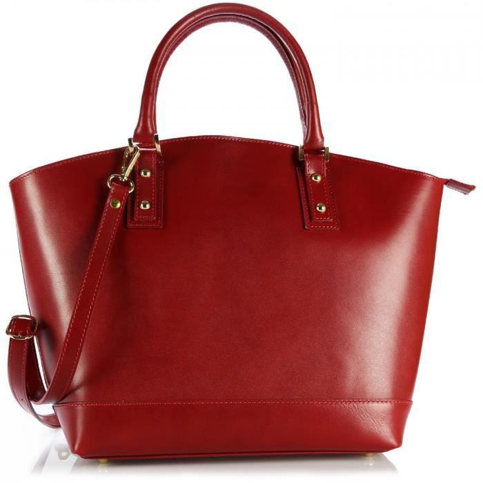 Olivia - Sac Cabas 100% CUIR végétal - Sac à main femme cuir véritable - Réf.: LATINA - ORGANISEUR OFFERT - (Rouge - Cuir)