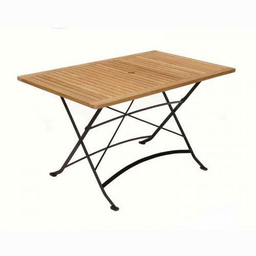 Table rectangulaire pliante Teck fer forgé MEDICIS - Achat / Vente ...