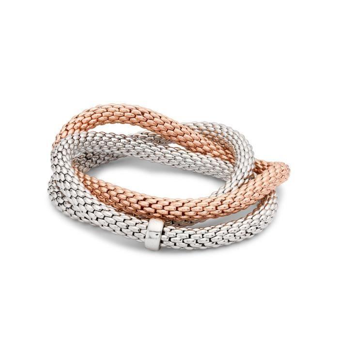 Jewelco London Dames Argent sterling 2 couleurs déclaration Multi-brin bracelet