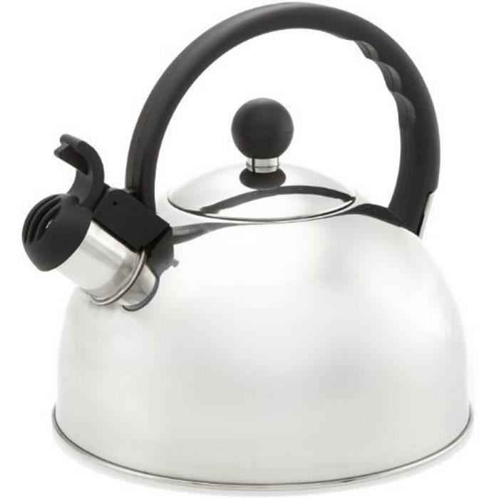 bouilloire sifflet en inox 2 5 l poign e noir achat vente bouilloire cdiscount. Black Bedroom Furniture Sets. Home Design Ideas