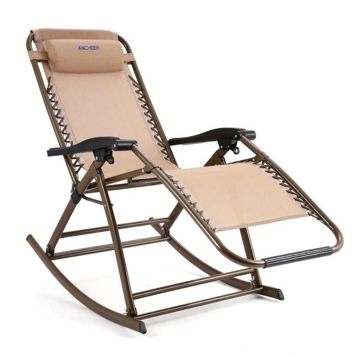 Chaise longue inclinable pliante pour jardin extérieur couleur beige ...
