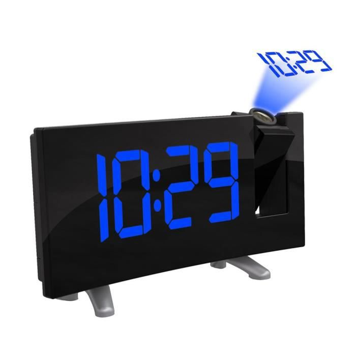 Leegoal Réveil Numérique Projection Avec Affichage À Led Fonction Radio Fm, Bleu