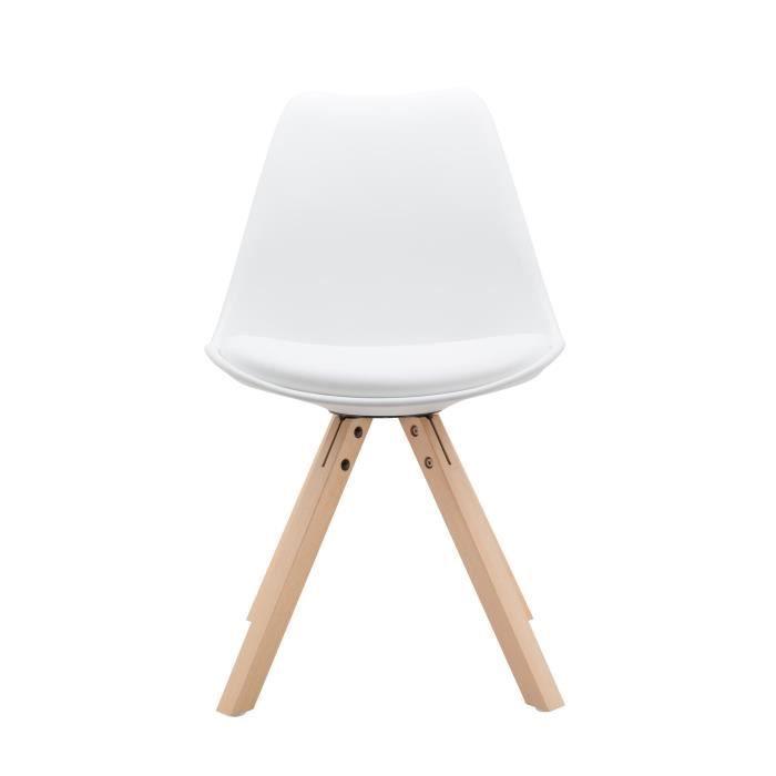 Chaise avec coussin mac andrews avec pieds en bois de hêtre naturel maja blanc achat vente chaise cdiscount