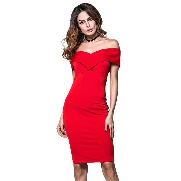2e731e351c9 Dénudées Dénudées Flavor Flavor Flavor Cintrée Épaules Coupe Robe Sexy  Rouge Simple Femme B6dqFYYw