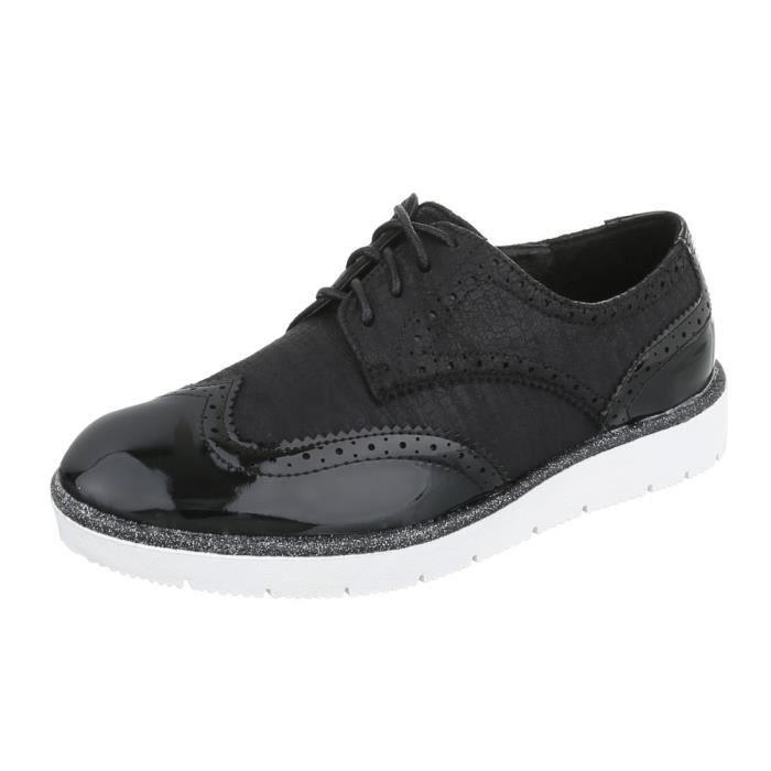 Femme chaussures flâneurs lacer noir 41