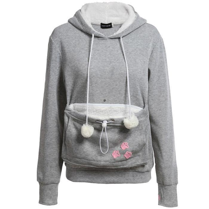 559b2326ec Gris Sweatshirt Femme avec Capuche Velours Chaud Brodé Chat ...