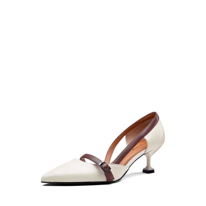 Femmes moyen sélectionl Escarpin Chaussures bout talon mode 5788200 à élégant Pompes cuir pointu ZxxgqU4d