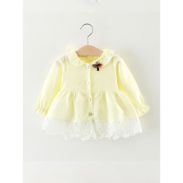 patchwork de dentelle robe de petite fille manches longues bouton vers le bas mignon robe