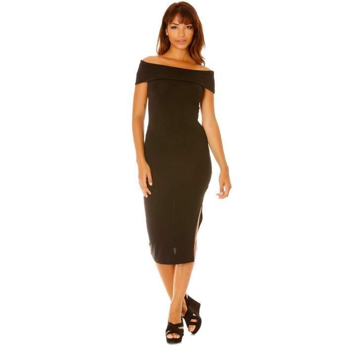Miss Wear Line - Robe noir longue moulante, col bateau et fente côté