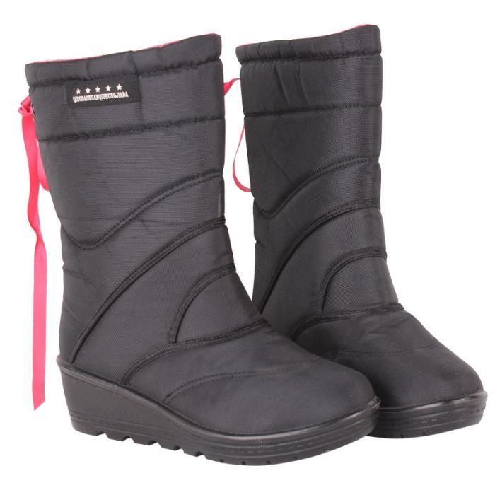 femmes bottes de taille Big 36-40 garder des bottes de neige chaude plate-forme chaussures de mode bottes mi veau d'hiver,noir,40