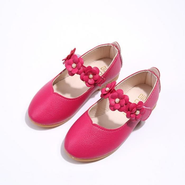BOTTE Enfants Chaussures Fille Mode Fleur Kid Chaussures Solide Tous les Match Chaussures Casual@Rose rougeHM 1eXWY4