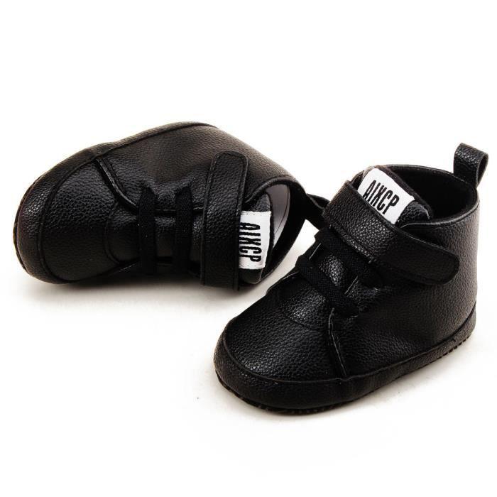 new style 9088c 9e8a2 Enfant en bas âge Filles Garçons Chaussures Crib Prewalker Semelles souples  Chaussures de sport Noir