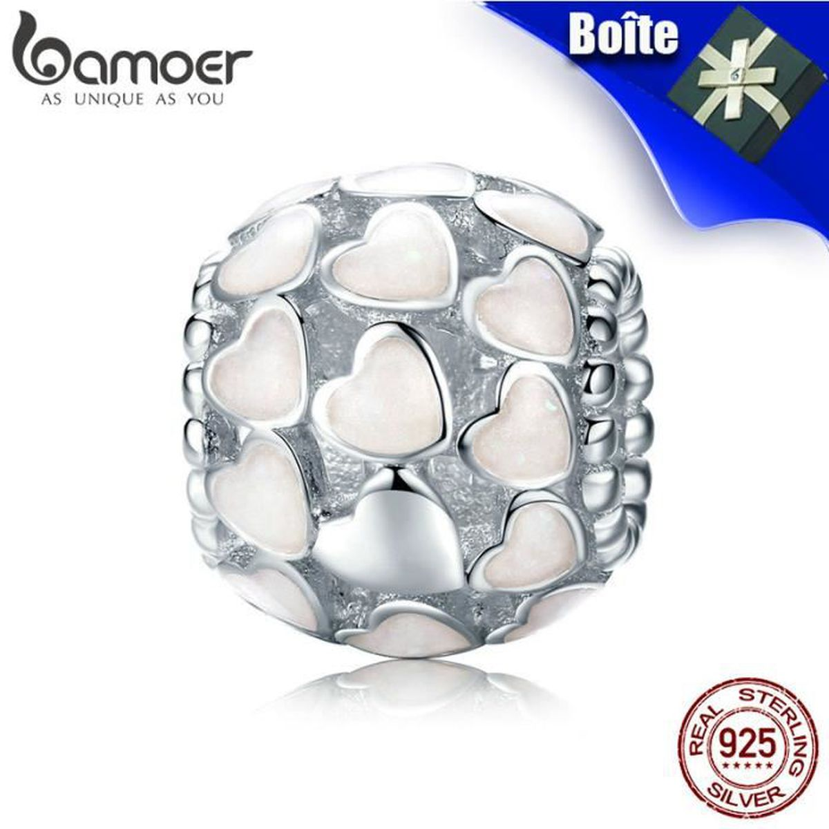 Charm's BAMOER Blanc Charms 925 Argent Silver Compatible P