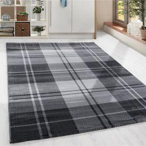TAPIS Shaggy tapis moderne à carreaux Schotten modèle sa