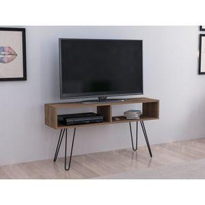 Meuble tv marron laque - Achat / Vente pas cher