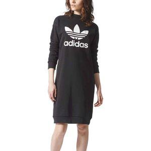 Vêtements femme Robes Adidas Originals Trefoil Crew Noir Noir ... f0e83aeff75