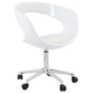 CHAISE DE BUREAU Fauteuil de bureau en similicuir coloris blanc - L
