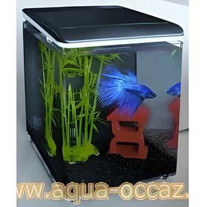 AQUARIUM Aquarium 8 litres noir complet pour eau douce et e