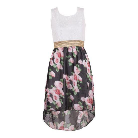 edcdd2e98fe Filles Feuille imprimé floral d or robe en mousseline de ceinture Age 3-13  ans Blanc Noir - Achat   Vente robe - Cdiscount
