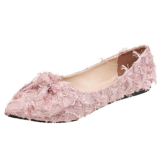 Les femmes peu profonde bowknot Ponited Toe Flat Low Slip talon Chaussures Chaussures simples  Rose Rose Rose - Achat / Vente slip-on