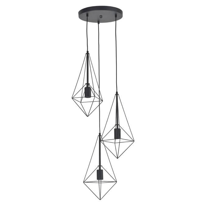 3 lumières - Type de culot : E27 - Puissance : 3 x 40W - Dimensnions : D 35 x H 172 cm.LUSTRE - SUSPENSION