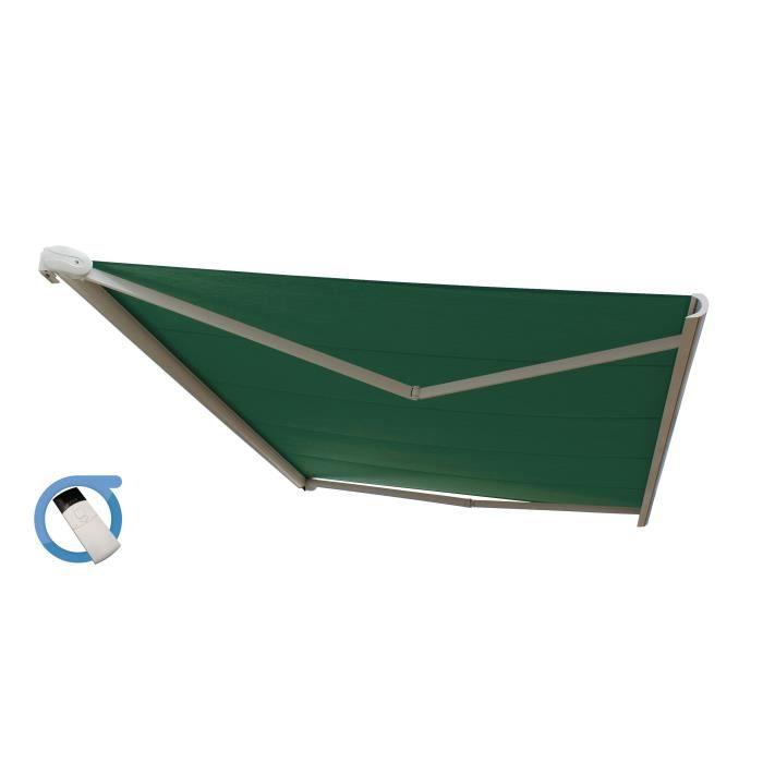 Store banne motorisé coffre intégral 6x3,5m - Toile verte et structure blanche pur satinée - PROTECT
