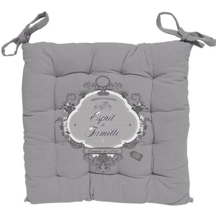 SOLEIL D' OCRE Dessus de chaise capitonné Esprit de Famille 100% coton - 40 x 40 cm - Blanc