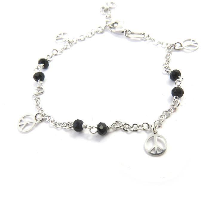 Altesse [M5879] - Bracelet argent Peace noir argenté