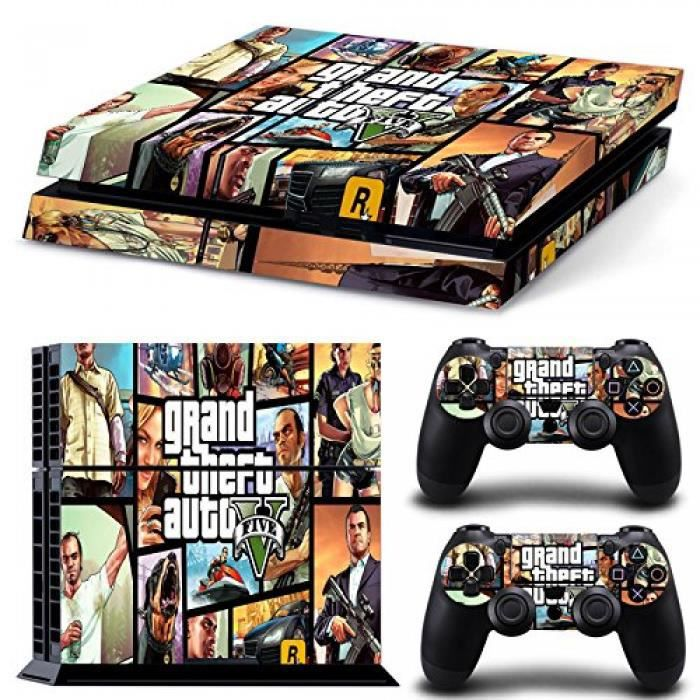 sticker decal autocollant ps4 gta 5 affiche conception. Black Bedroom Furniture Sets. Home Design Ideas