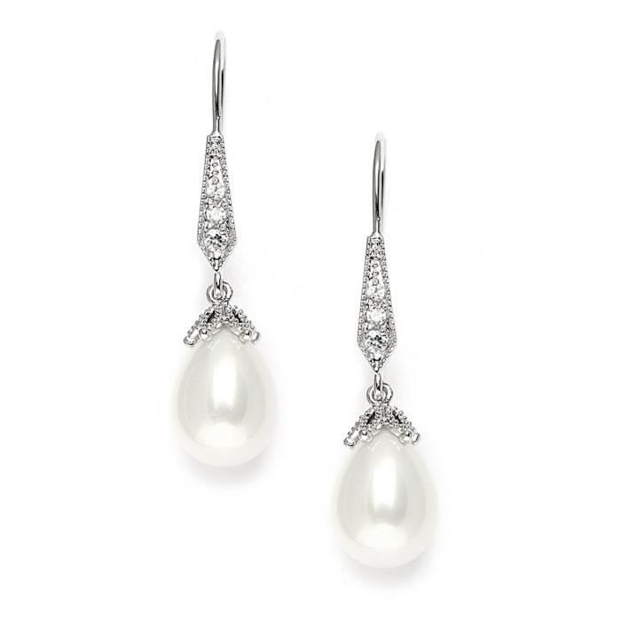 Womens Cz Vintage French Wire Light Ivory Pearl Teardrop Dangle Bridal Earrings Plated In Platinum L2PB1