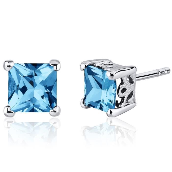 Topaze Swiss Blue Femmes Princess Cut Boucles doreilles en argent sterling rhodié Nickel Terminer 2,50 Cara AZWKK
