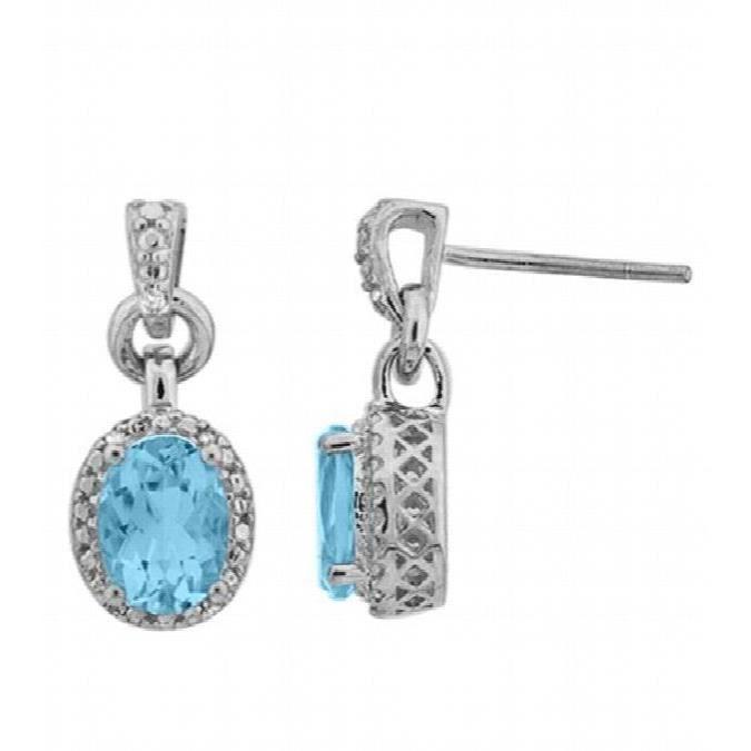 Jewel Panda topaze bleu clair en argent sterling et de diamants Pendants doreilles ovales RNII6