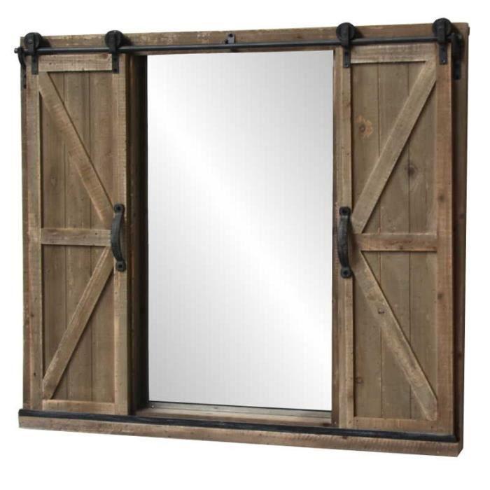 grand miroir volets fen tre sur roulette industriel campagne 100x90 cm achat vente miroir. Black Bedroom Furniture Sets. Home Design Ideas