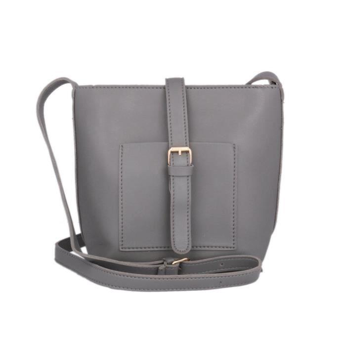 Damara Mode féminine Grand sac à bandoulière en cuir Faux sac à main EH125