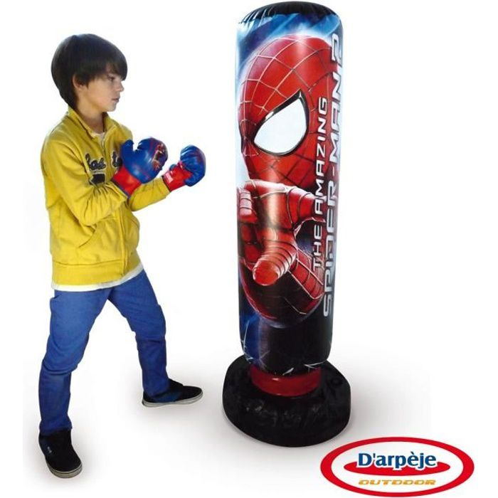 spiderman punching ball gonflable sonore avec paire de. Black Bedroom Furniture Sets. Home Design Ideas
