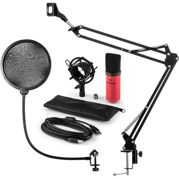 Auna Mic-900rd Set Micro V4 Usb À Condensateur Filtre Anti Pop Perchette Rouge