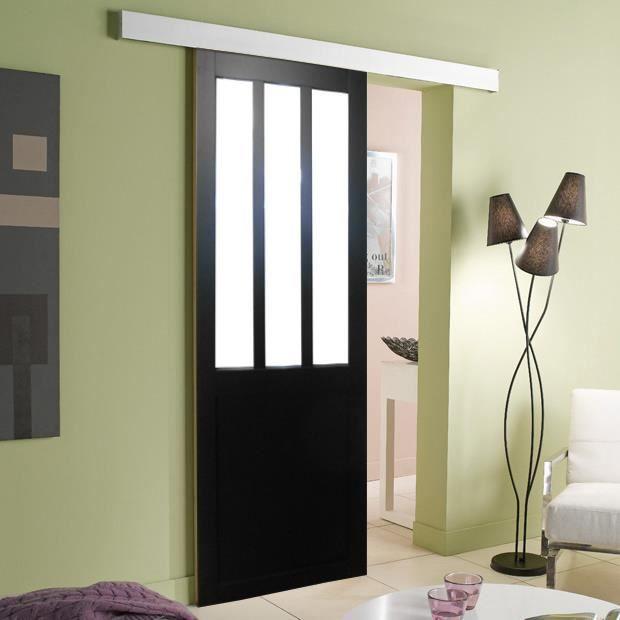 porte style atelier noire 204x63 coquilles avec rail. Black Bedroom Furniture Sets. Home Design Ideas