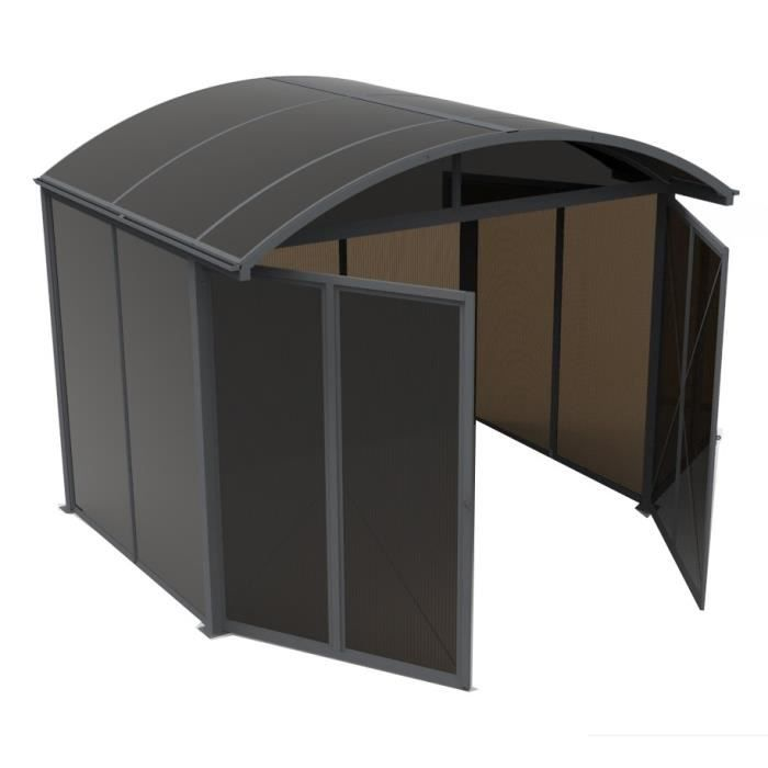 Abri de jardin en aluminium ferm 7 20m toit et panneaux avec plaques en polycarbonate anti uv - Protection toit abri de jardin ...