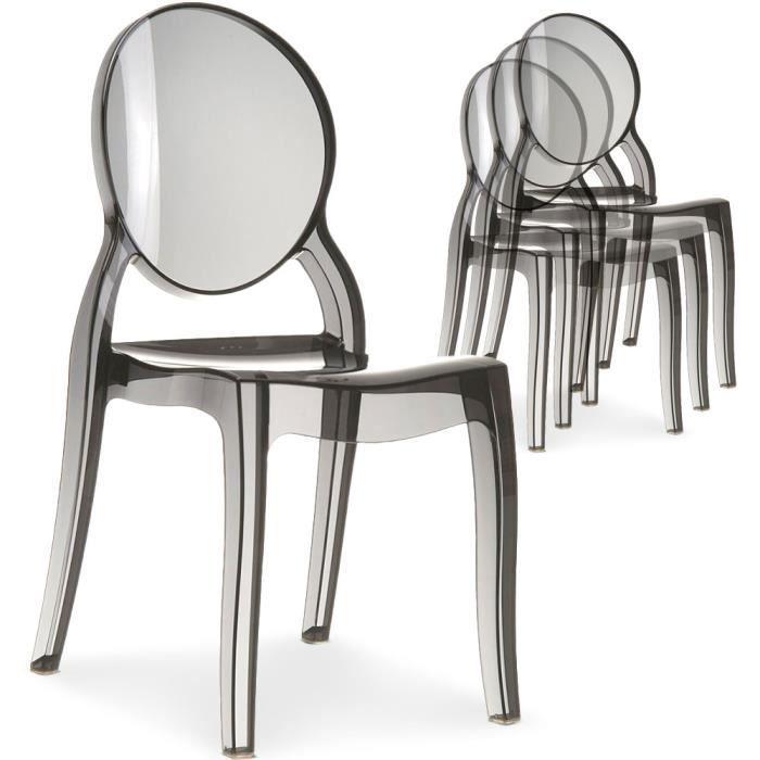 lot de 20 chaises diva plexi transparent fum - Chaise Plexi Pas Cher