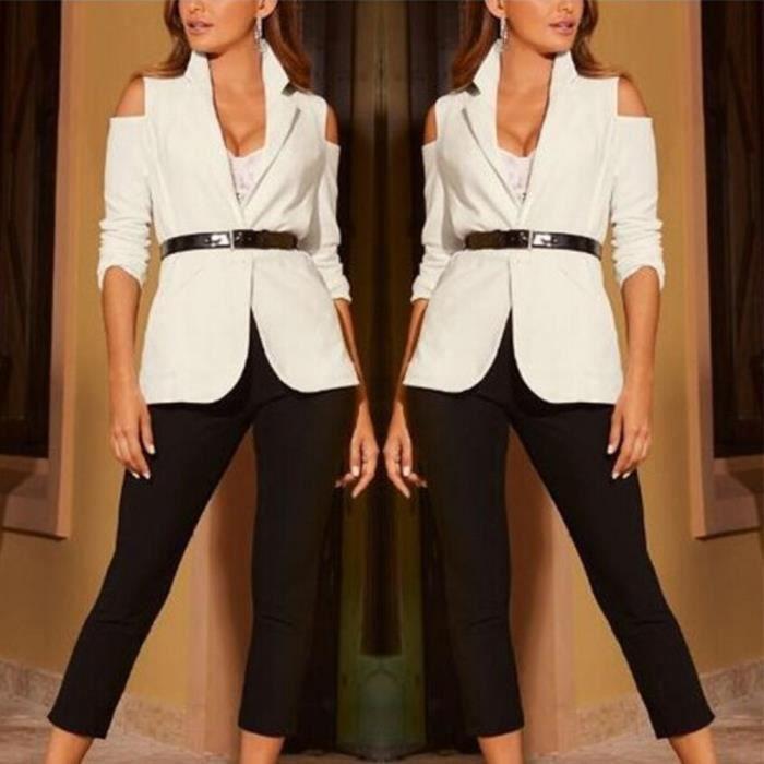 Longues Outwear Blazer À Manteau Ceinture Costume Blanc Slim Solide Tops Les Veste Manches Femmes tx78wCqA