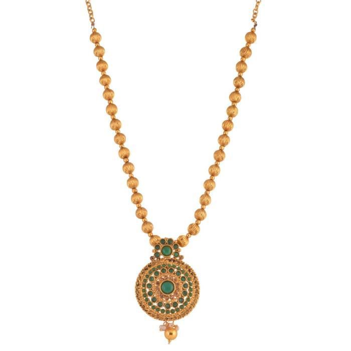 Womens Traditional Temple Design Green Gold Plated Pendant Necklace Set For & (10591) 10591 VHEIW