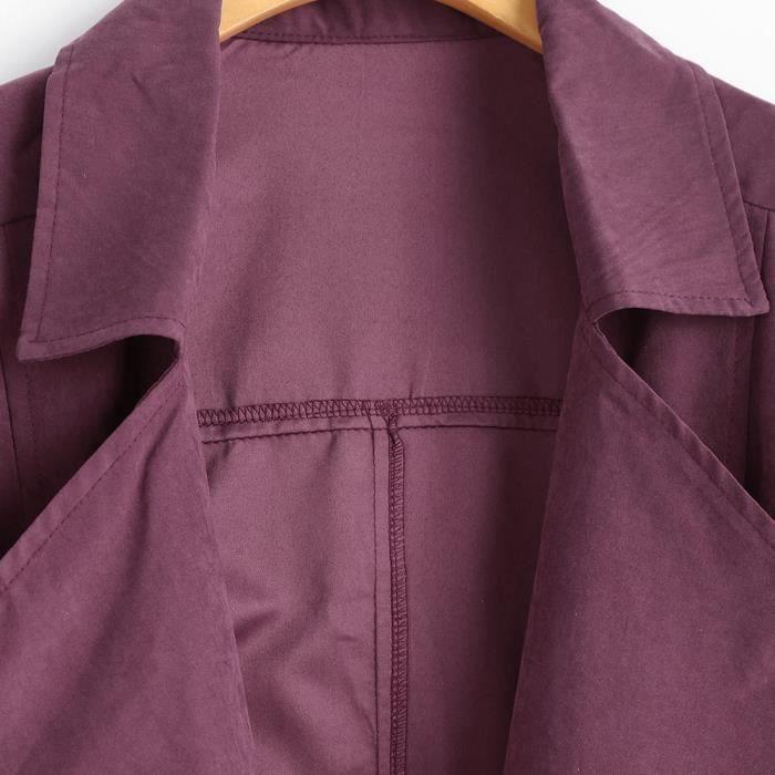 Veste Femmes Solides Manteau Lâche Coupe Longues Parka Outwear zy5575 vent Manches Manteaux XrXfYw