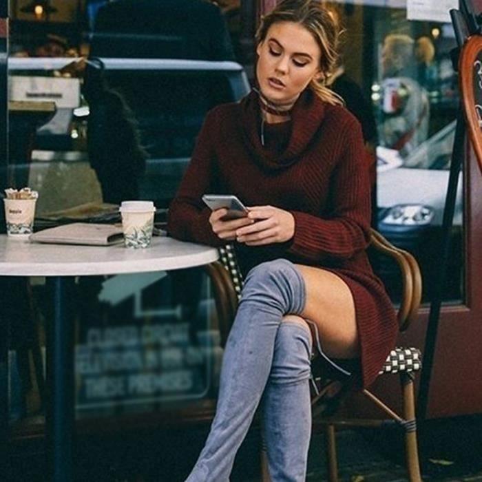 Mode féminine Pulls Voir minces Robes laine douce Outwear confortable